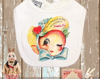 Baby Gift, Peach Bib, Retro Bib, Organic Bib, Baby Bib, Baby Gift, Retro Fruit, Drool Bib, Shower Gift, Retro Baby Bib, Baby Layette