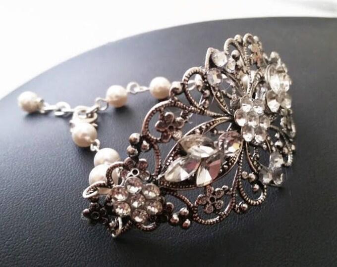 Bridal Cuff Bracelet Vintage Crystal Leaf Flower Wedding Bracelets
