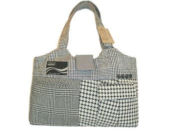 Large carry-all / market bag of recycled suit coats - Oscar No.1217