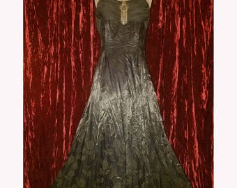 Vintage Black Satin Gown Dress, Damask Crinoline Petticoat, Size 8 Gothic Vampire