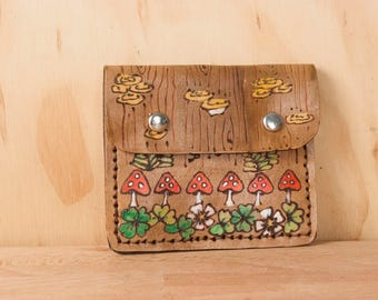 Front Pocket Wallet - Women or Men's Small Wallet for Credit Cards, Cash and Coins - Ronja Pattern with Mushrooms and Ferns - Antique Brown