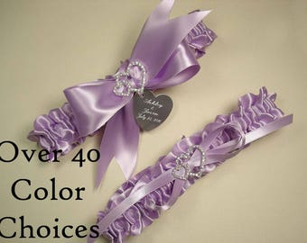 Personalized Wedding Garter Set in Custom Colors with  Engraving and Rhinestone Linked Hearts