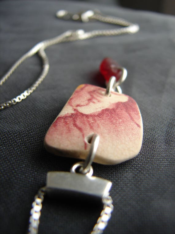 Vessel sea pottery and red sea glass necklace