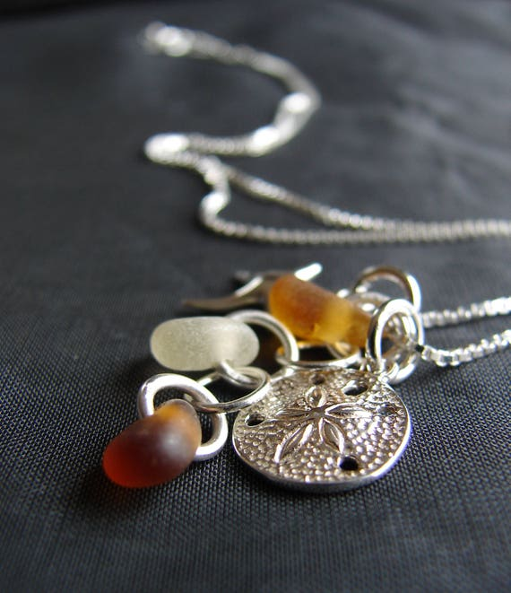 Ocean sea glass necklace in amber and white