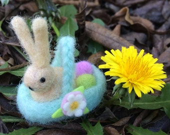 Wool Felted Easter Bunny in a Basket with Eggs