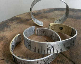 Large Size Ruler Bracelet Vintage Repurposed Upcycled Aluminum Brass Cuff Him or Her Graphic Carpenter Dressmaker Seamstress