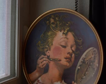 """Vintage """"Making Believe at the Mirror"""" Norman Rockwell Plate"""
