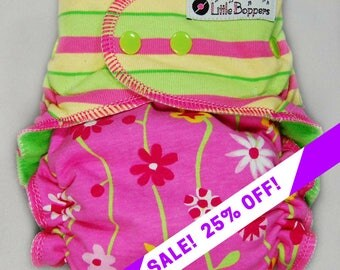 SALE! Cloth Diaper or Cover Made to Order - Combo Stripes and Vines Floral - You Pick Size Style - Custom Nappy - Pink Yellow Lime Striped