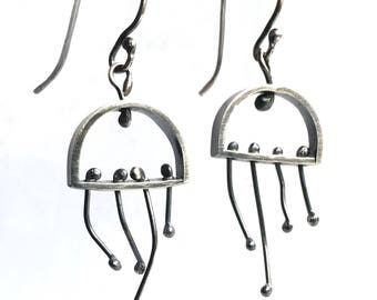 Jellyfish Earrings Oxidized Patina Silver Semi Circle with Kinetic Wiggly Tentacles