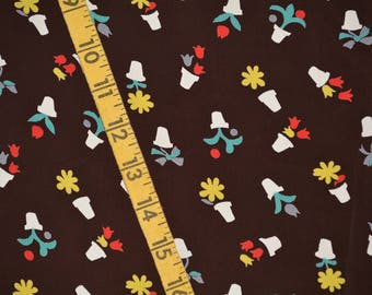 1940s cold rayon VINTAGE fabric 1940s Skinner rayon flower pot motif dark brown FREE SWATCH