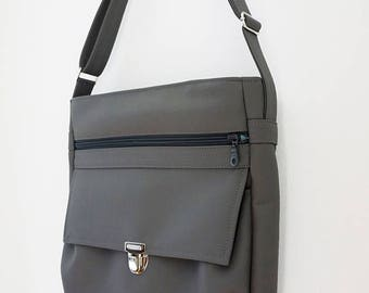 HIGH FLYER crossbody bag with adjustable strap made with vegan leather - dark soft grey