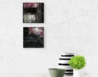 Set of 2 Abstract Black, Purple, Mixed Media art paintings on reclaimed wood, Pieces Of Beautiful Set 100 7 101 by Kathy Morton Stanion EBSQ