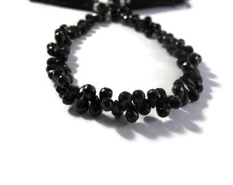 Black Onyx Teardrops - Natural Black Onyx - Faceted Briolettes - 5.5mm x 4mm - 7mm x 4.5mm, 4 Inch Strand (B-On2c)