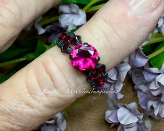 Ruby, Fuchsia Red Lab Created Stone, Handmade Wire Wrapped Ring, Fine Jewelry, July Birthstone, Unique Engagement Anniversary Birthday Gift
