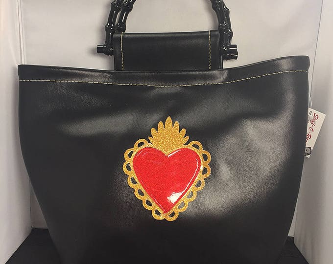Handbag - Black Vinyl Sacred Heart Tote Bag