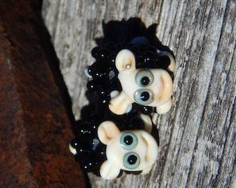 Baa Baa Black Sheep pair ,  Lampwork Bead Pair, Simply Lampwork by Nancy Gant, SRA G55
