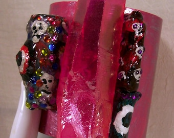 Hot Pink Crystal Aura Altar Wand Artisan Art Cuff Bracelet Double Terminated Chakra Wiccan Skulls Rune Markings Rare Altered Assemblage