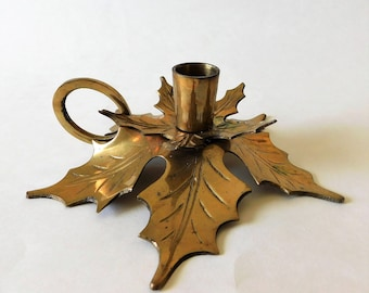 Vintage Brass Leaf Candleholder Christmas Decor Autumn Table Decoration Thanksgiving Gift