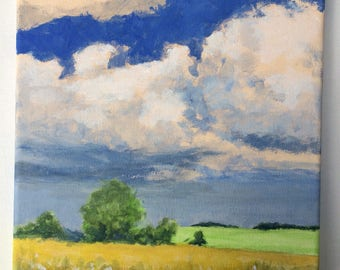 Original Landscape Painting on canvas 8x8 Clouds Wheat Fields Flowers Blue Sky