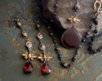 Garnet Earrings, Long Dangle, Teardrop, Garnet Stone Dark Red Black Oxidized Silver Gold, Garnet Jewelry, Solid Bronze, Gothic, Old world