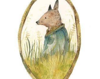 Fox, children's room art, whimsical animal art, Fox in the Field archival art print, fox art, woodland, forest