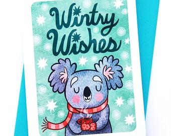 Wintry Wishes Koala- Cute Christmas Card Koala Holiday Card Boyfriend Season's Greetings Cute Winter Card Illustrated Holiday card friend