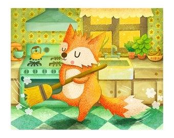 Spring Cleaning Fox - Cute Fox Print Kitchen Art Fox Art Print Fox Illustration Animal art Kitch Kitchen art Cute Animal print Fox Art