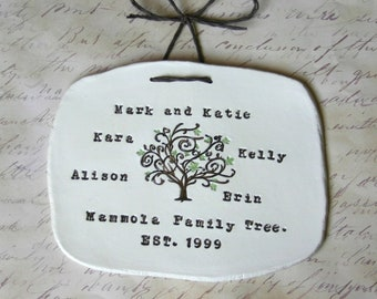 Family Tree Wall Art: Personalized Family Name Signs, Established Sign, 9th Anniversary Gift, Pottery & Willow