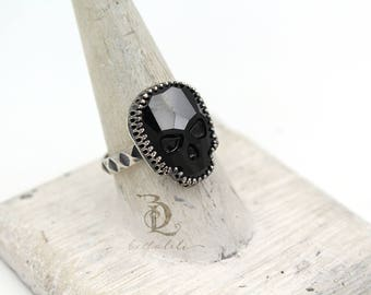 Black Large Skull Ring // Swarovski and Sterling Silver ring, by BellaLili, Welded Silversmith