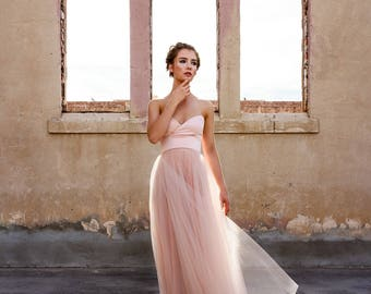 Hand dyed Sweetheart Strapless Tulle Ball Gown - Blushing by Cleo and Clementine