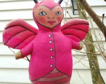 Love Bug Valentine Doll Hand Painted Stuffed Plushie Folk Art Cloth Doll Ornament