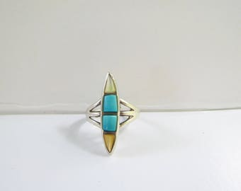 Native American - Southwestern - Sterling Silver Ring with Turquoise and Mother of Pearl - Size 5 1/2     1609