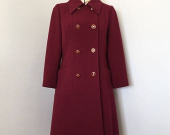 1960's Winter Coat Womens Fine Wool Merlot Red Seymour Paisin Chicago Boutique Small Extra Small  Petite