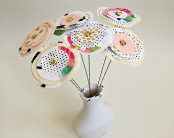 modern, urban fabric scrap, paper flowers, faux fake contemporary fabric flower stem bouquet, stitched sewn flower centerpiece- 6