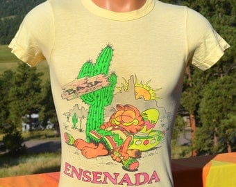 vintage 70s t-shirt ENSENADA baja mexico garfield cat neon tee XS 36 Small siesta