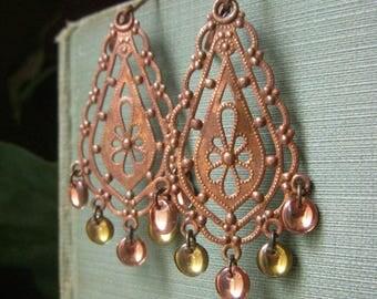 Copper Boho Earrings, Copper Chandelier Earrings, Long Filigree Brass Hand Patina Bronze Earrings, Hand Painted Gypsy Earrings