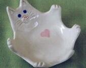 Handmade Small Porcelain Cat Dish