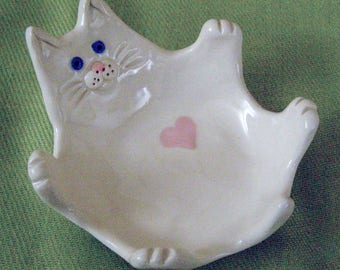 Handmade Small Porcelain Cat Dish