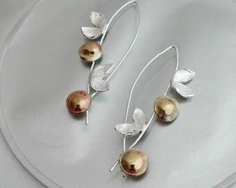 Sterling Brass Earrings, Dangles Long, Brass Silver Dangles, Recycled Jewelry, Brass Silver Earrings, Recycled Earrings, Unique Earrings
