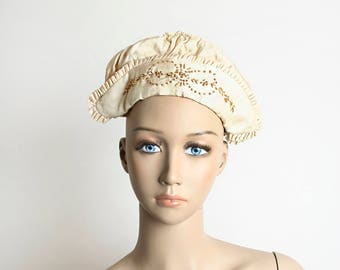 Vintage 1920s Silk Bonnet - Oatmeal Cream Colored Embroidered Small Silk Hat