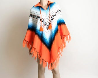 Vintage 1970s Knit Poncho - Ombre Blue and Tangerine Orange Fringed Cape Sweater - Pom Pom Ethnic Mexican Festival Southwestern Style