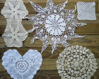Antique & Vintage Crochet Doily Lot...Mixed, Handmade Lace Doilies, early to mid 1900s...Destash Collection, Crafting, Home Decor DL1704
