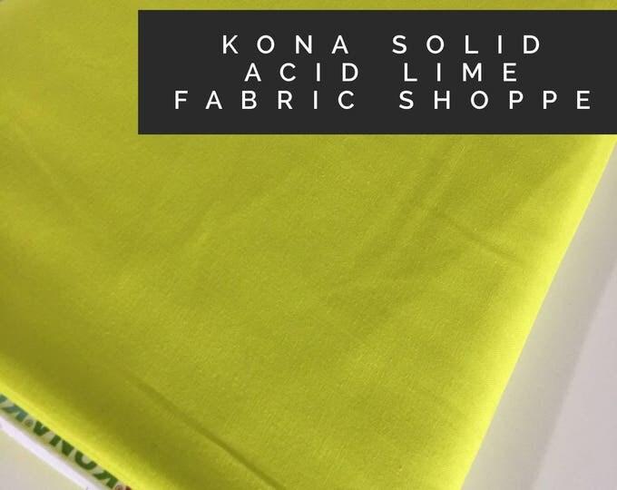 Kona cotton solid quilt fabric, Kona ACID LIME 1860, Solid fabric Yardage, Kaufman, Quilting Cotton fabric, Choose the cut