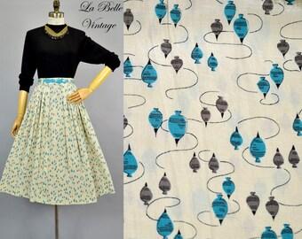 50s Yo Yo Top Print Skirt S Vintage Silk Full Skirt