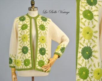 Vintage 60s Floral Embroidered Cardigan M L ~ Silk Lined Ivory Wool Sweater ~ The Nassau Shop