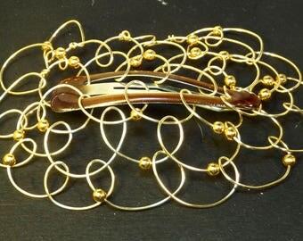 Barette Bat Mitzvah Kippah Womans Kippot Yarmulke - Barrette- Gold Wire Gold Round Beads