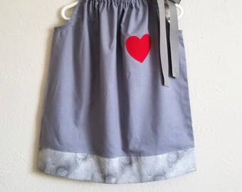 Tin Man Dress Wizard of Oz Dress Pillowcase Dress Grey Dress with Heart Wizard of Oz Party Tin Man Costume girls dresses Pretend Play