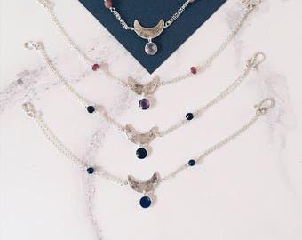Sterling silver moon bracelet, crescent moon & gemstones, OOAK, elegant celestial jewelry