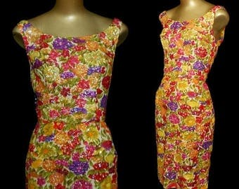 ON SALE Vintage 50s Cocktail Wiggle Dress, 1950s Hand Sequined Aurora Boreas AB Jewel Tone Tropical Floral Print Dress, Size S Small