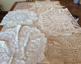 Doilies Vintage Linen Value Bundle Seven Large Hand Crocheted Doilies Beige Ecru Off White Round and Runner - B101